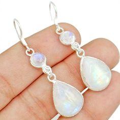 Rainbow Moonstone 925 Sterling Silver Earring Allison Co Jewelry E-1672 #Allisonsilverco