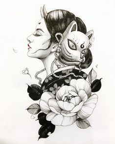 Chronic Ink tattoo Cindy asian-style tattoo Hannya Geisha + mask and flowers - Nutritious Tutorial and Ideas Sketches, Japanese Tattoo Designs, Geisha, Drawings, Geisha Tattoo Design, Mask Drawing, Dragon Tattoo, Ink Tattoo, Tattoo Designs