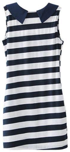 Rochie in dungi albe si bleumarin Casual, Tops, Fashion, Moda, Fashion Styles, Fashion Illustrations