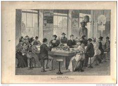 """Lunchroom in Chicago  - Druck, entnommen   aus """"die Gartenlaube"""", 1897"""