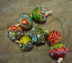Bollywood Chunkies Ranjana Lampwork Bead Set by flamekeeper Polymer Beads, Lampwork Beads, Polymer Clay, Handmade Beads, Handmade Jewelry, Glass Beads, Glass Marbles, Beads And Wire, Beading Supplies