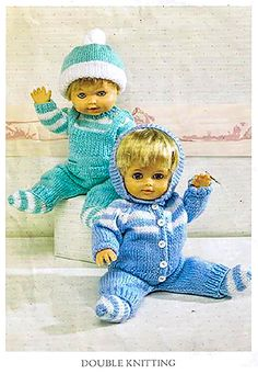 Dolls warm pram set clothes knitting pattern for larger dolls. The pattern sizes start at 12-14 inches and go upto 19-22 inches / 48-56 cm so