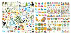 lovely plants and animals vector material