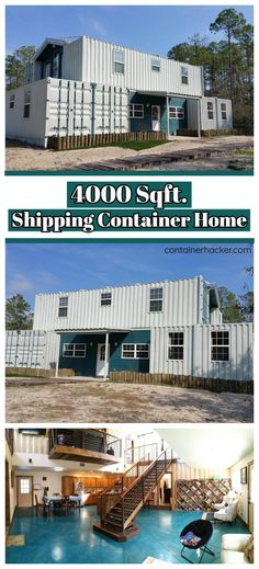 In this article, we will talk about a 4000 square meter container house built using 7 shipping containers located in Florida. Shipping Container Home Designs, Cargo Container Homes, Building A Container Home, Shipping Container House Plans, Container Buildings, Container Architecture, Container House Design, Shipping Containers, Shipping Crate Homes