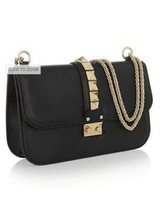 4dde030dc557 Hand-embellished Black leather (Calf) Detachable gold chain shoulder strap  Pyramid studs