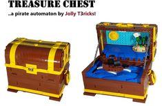Treasure Chest - A Pirate Automaton Lego Pirate Ship, Lego Ship, Spanish Galleon, Lego Furniture, Micro Lego, Red Beard, Flying Dutchman, Lego Projects, Small Farm