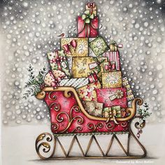 Johanna's Christmas/ colouring book/ polychromos pencils/ Ness Butler/ sleigh/ Christmas/