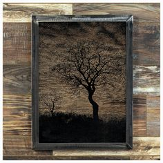 """There's nothing more haunting than a still winter night with the moon seen through the trees...    ... and that image is made just a bit more interesting with the wood grain showing through...    Made-To-Order    Abe is madefrom oak that has each been sanded smooth and painted, the image is created by ripping away the pigment, leaving the beautiful texture of the wood undisturbed.    The frame is welded 1-1/4"""" steel angle, with a light grinding, for a very industrial feel.    As each…"""