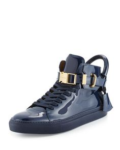 100mm+Patent+Leather+High-Top+Sneaker,+Blue+by+Buscemi+at+Neiman+Marcus.