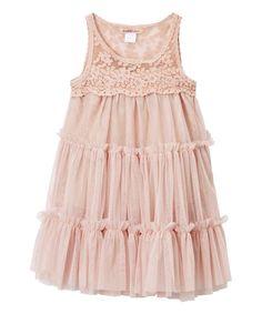 Dusty Pink Tiered Sleeveless Dress - Toddler & Girls