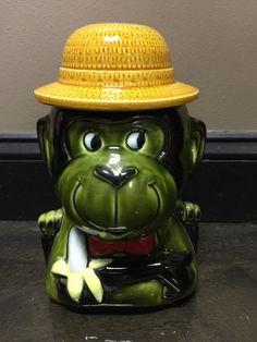 Vintage Monkey Cookie Jar 1950's