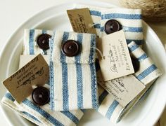 ticking fabric napkin holders