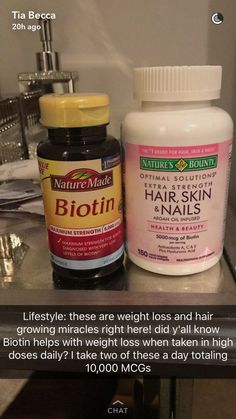 Nature Made Biotin and Nature's Bounty Hair, Skin, and Nails for weight loss and hair/nail growth, respectively - tyy Health And Beauty Tips, Health Tips, Beauty Care, Beauty Skin, Natural Hair Care, Natural Hair Styles, Beauty Secrets, Beauty Hacks, Tips Belleza