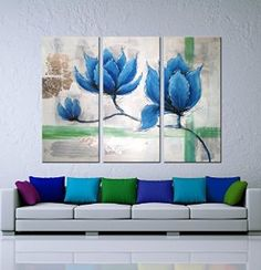 """Hand-Painted """"Blue Flowers""""3-Piece Gallery-Wrapped Modern Oil Painting On Canvas"""
