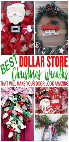 BEST Dollar Store Christmas Wreath DIY Holiday Wreath Ideas ndash Learn How To Make Wreaths To Make Your Front Door Look Amazing ndash Dollar Store Hacks ndash Homemade Christmas Decor Homemade Christmas Wreaths, Christmas Wreaths For Front Door, Homemade Christmas Decorations, Holiday Wreaths, Xmas Decorations, Door Wreaths, Holiday Ideas, Ribbon Wreaths, Yarn Wreaths