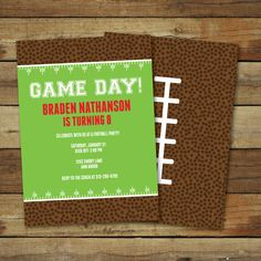 Football birthday party invitation printable by saralukecreative