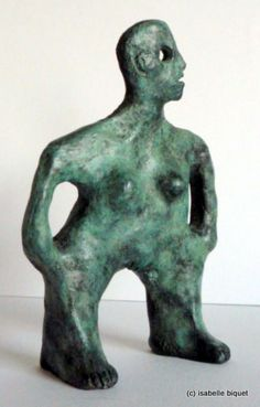 Bronze Minimalist Understated Abstract Contemporary Sculpture statuary statuettes sculpture by artist Isabelle Biquet titled: 'Les mains dans les poches (Stylised Man bronze statuettes/statues)'