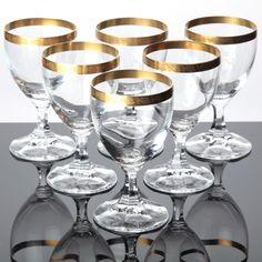 details zu 6 vintage spiegelau helios kristall gl ser weingl ser goldrand 50er 60er w2d. Black Bedroom Furniture Sets. Home Design Ideas