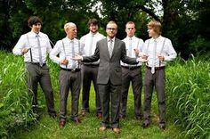 grey slacks, grey suspenders, brown shoes