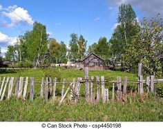 old wooden fence in village - csp4450198
