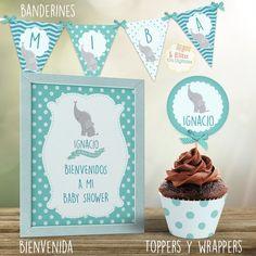 Decoracion Baby Shower Nena, Elephant First Birthday, Ema, First Birthdays, Place Cards, Place Card Holders, Ideas, Elephant Birthday, First Anniversary