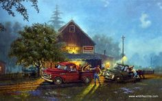 Two classic trucks--a Chevy coming to the rescue of a Ford in front of the old general store. Nostalgic rural America as only Dave Barnhouse can do it. This signed and numbered limited edition print i