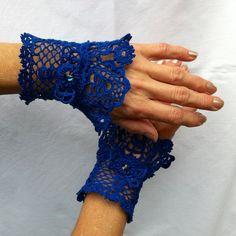 Sapphire Victorian Bracelet Cuffs - Koniakow Lace elements