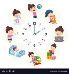 Kids daily routine activities vector image on VectorStock Cartoon Heart, Cartoon Giraffe, Cartoon Cow, Cartoon Turtle, Cartoon Monkey, Daily Routine Activities, Kids Routine Chart, Emotions Activities, Activities For Kids