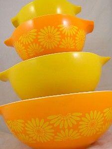 pyrex vintage   Vintage Sunflower Orange & Yellow Pyrex Cinderella Mixing Bowls Set of ...