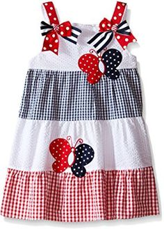 Rare Editions Girls' Color Block Seersucker Dress Baby girl sizes come with a diaper cover Baby Girl Dress Patterns, Toddler Girl Dresses, Toddler Outfits, Kids Outfits, Toddler Girls, Red Dress Outfit, Seersucker Dress, Little Girl Dresses, Fashion Kids