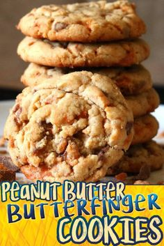 Peanut Butter Butterfinger cookies are perfectly soft, chewy, peanut butter cookies filled with sticky sweet Butterfinger baking bits! These cookies are SO amazing! Seriously they will be one of yo… Beaux Desserts, Köstliche Desserts, Delicious Desserts, Dessert Recipes, Yummy Food, Candy Recipes, Fun Food, Candy Cookies, Yummy Cookies