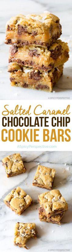 Irresistible Gooey Salted Caramel Chocolate Chip Cookie Bars | ASpicyPerspective...