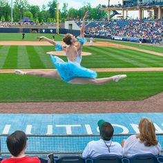 Gwinnett Ballet dancer at Gwinnett Braves game at Coolray Field in Lawrenceville
