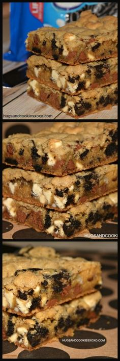 Oreo, Vanilla Pudding & Chocolate Chip Bars - Hugs and Cookies XOXO
