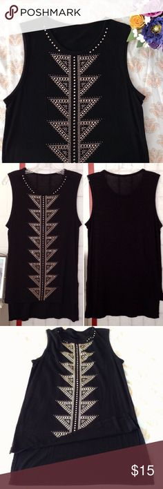 """Gorgeous Embellished muscle top Size S/M (2-6) • Tags removed but condition is flawless! 🏷Measurements: Length is 30"""" down the back & 26"""" down the front/ Bust 17"""" flat across/ Arm openings are 9"""" long . ❤️Highly recommended piece & one of my favs because it works on many body types! Stretchy, comfy, & clean-cut. Always got compliments on it but I don't wear it anymore. Any questions, ask away! Forever 21 Tops Muscle Tees"""