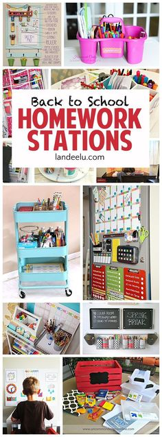 Diy Crafts Ideas : DIY BACK TO SCHOOL Homework Stations – I love these ideas to get the kids motiva…
