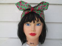 Gorgeous Vintage Watermelon Hairband Ready to ship  So cute!   These colors look so rich together !!! Vintage floral print. Retro hair wrap. Gift