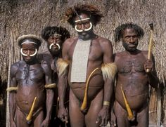 Chief and elders from a village in Baliem Valley Irian Jaya (West Papua) Indonesia