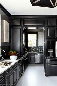 Black and White Kitchen Fresh 11 Black Kitchens Black Cabinet and Backsplash Ideas Eclectic Kitchen, Rustic Kitchen, Kitchen Decor, Kitchen Ideas, Kitchen Designs, Kitchen Tile, Kitchen Interior, Dark Kitchen Cabinets, Kitchen Cabinet Colors