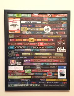 Festival Wristband Display Frame - glue dots, black poster board, frame.