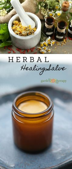 All-Purpose Herbal Healing Salve Make an all-purpose healing herbal salve using ingredients from the garden<br> This moisturizing calendula salve helps soothe and heal cuts and bruises and is safe to use on adults, children, and pets. Natural Beauty Remedies, Herbal Remedies, Health Remedies, Holistic Remedies, Hair Remedies, Healing Herbs, Natural Healing, Healing Oils, Natural Medicine