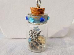 Bottle Pendant, Wish Bottle, Fairy Bottle, Watch Parts, Mixed Media, Treasure Bottle, Blue Pendant, Pendant Necklace, Trinket Bottle, Whimsy by SaveTimeInABauble on Etsy