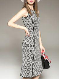 Knitting Cotton Knee Length dress
