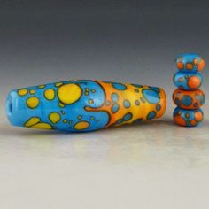 Polychrome Beads Lampwork - Diploid - turquoise & coral bicone + 4 spacer beads