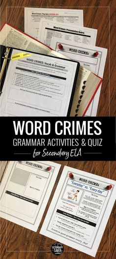 Word Crimes: video watching activity, poster project, and grammar quiz! Perfect for teaching grammar in a fun way in middle or high school English.