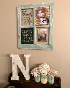 Repurposed old window with chalkboard and wine cork board   Montana Mason jars   mint and white   rustic home decor