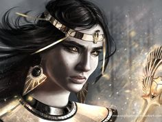Isis, mother of Horus, Inna Vjuzhanina on ArtStation at https://www.artstation.com/artwork/isis-mother-of-horus