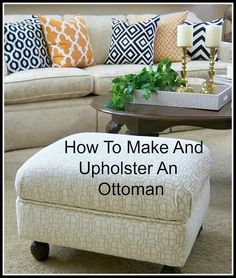 A Stroll Thru Life: How to Make & Upholster An Ottoman - perfect re do, I wish she could come do MINE! pls <3