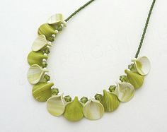 Light Green Necklace Handmade Polymer Clay Jewelry Lightweight Feminine. Ready to ship.