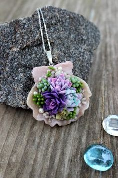 Succulents pendant, Flowers succulents, sea shell composition, polymer clay succulent garden, silver 925 summer jewelry, succulent necklace